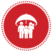 Red circle with family under umbrella life icon linked to life insurance plans webpage